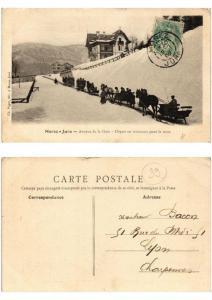 CPA MOREZ - JURA Avenue de la Gare. Départ en traineaux pour le train (509280)