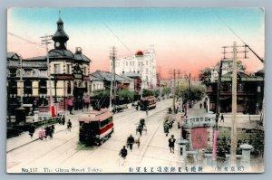 JAPAN TOKYO GINZA STREET JAPANESE ANTIQUE POSTCARD