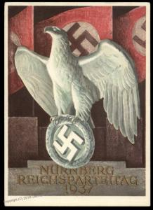 3rd Reich Germany 1937 Reichsparteitag Propaganda Card USED Party Rally Ca 90626