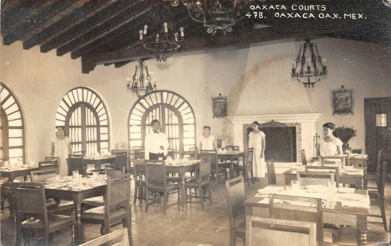 F61/ Foreign RPPC Postcard Mexico c1940s Oaxaca Courts Restaurant Interior