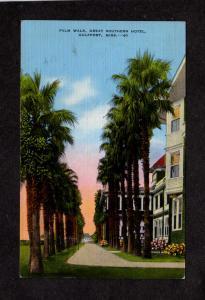 MS Palm Trees Walk Great Northern Hotel Gulfport  MISSISSIPPI MISS Postcard PC