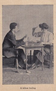 1900-1910's; Couple Playing Cards