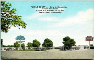 Roswell, New Mexico Postcard PUEBLO COURT Motel Highway 70 / 80 Roadside Linen