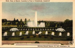 Delaware Wilmington Longwood Gardens Electric Fountains In Front Of Greenhous...