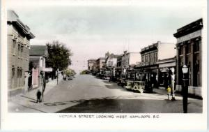 RPPC  KAMLOOPS, BC Canada  VICTORIA STREET Scene  c1930s  Cars & Signs  Postcard