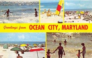 Ocean City Maryland 1960s Postcard Banner Multiview Beach Surf Sun Bathers
