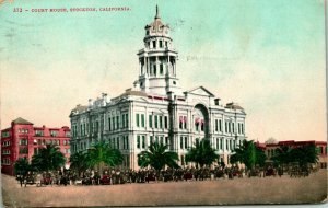 Vtg Postal 1908 Stockton California Ca Tribunal Casa Automobiles Calle Vista