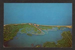 RI Aerial Quonochontaug Pond Charlestown Westerly Rhode Island Postcard PC
