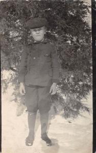D41/ Ayr Nebraska Ne Real Photo RPPC Postcard c1910 Loren Wilder Boy Snow