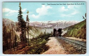 SIERRA NEVADA MOUNTAINS, CA ~ RAILROAD TRAIN Leaving SNOW SHEDS c1910s  Postcard
