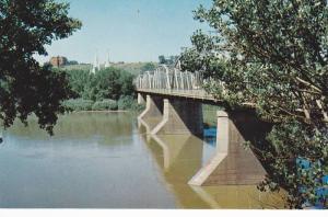 Scenic Waterfront View, Finlay Bridge Over the South Saskatchewan River, Medi...