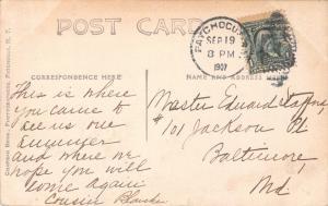 PATCMOGUE NEW YORK POSTMARK-DRIVEWAY COLUMNS-CHAPMAN REAL PHOTO POSTCARD 1907