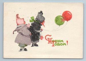 1960 LITTLE KIDS in Winter Costume Balloon New Year by Mqslina USSR Postcard