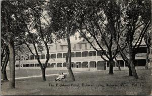 Delavan Wisconsin~Highland Hotel @ Lake~Couple Lil Girls On Bench~1910 CR Childs