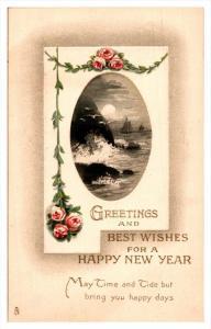 8552 Tuck's no. 5016   Happy New Year , Sailing ships, near shore