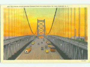 Linen BRIDGE SCENE Camden New Jersey & Philadelphia Pennsylvania PA HJ1146