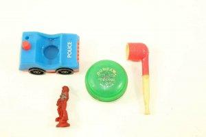 4 Retro Toys Rubber Space Man Fisher Price Police Car Duncan Yo-Yo Pipe
