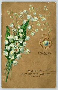 March Gemstone Pearl Broach~Lily of the Valley~Gold Back~Embossed~1910