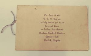 Norfolk Virginia USS Neptune Ship Invitation Antique Booklet J72769