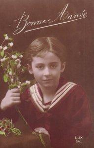 RP;  NEW YEAR, 1900-10s; Bonne Annee, Portrait of Sailor Boy holding White ...