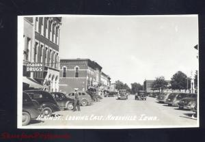 RPPC KNOXVILLE IOWA DOWNTOWN MAIN STREET SCENE OLD CARS REAL PHOTO POSTCARD