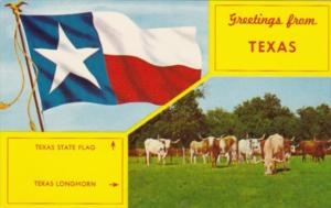 Greetings From Texas Showing Longhorn Cattle and State Flag