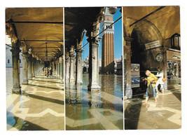 Italy Venice Multiview HIgh Water Mark Procuratu S Marco Square 4X6 Postcard