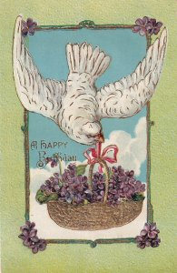 A HAPPY BIRTHDAY, 00-10s; White Dove Carrying A Basket Full Of Purple Flowers