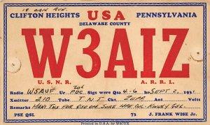 W3AIZ Clifton Heights, PA., USA QSL Unused