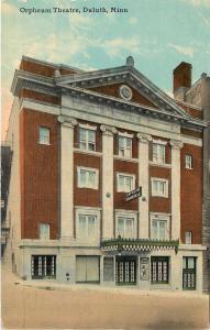 Duluth MN~Orpheum Theatre~Poster Below Marquee~1910 Postcard