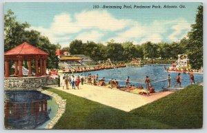 Atlanta Georgia~Piedmont Park Swimming Pool~Bath House~Stone Gazebo~1944 Linen