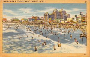 Atlantic City New Jersey~Bathing Beach Scene~Lots of Swimmers~1948 Linen Pc