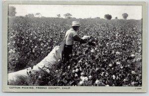 Fresno County California~Cotton Picker~Worker Carries Long Sack~1944 B&W PC