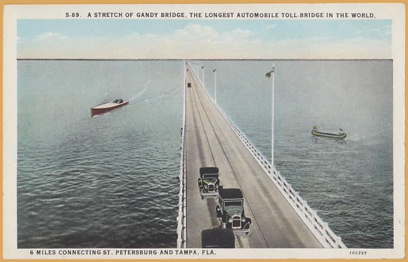 6 Mile Gandy Toll Bridge, connecting St. Petersburg & Tampa FLA., Boats & Cars
