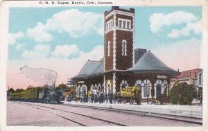 Train Arriving, C. N. R. Train Depot, Barrie, Ontario, Canada, 1900-1910s