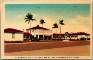 West Palm Beach, Florida Postcard SOUTHLANDS MOTOR LODGE Route 1 Roadside Linen