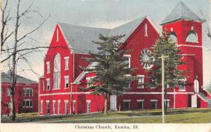Eureka Illinois~Red Brick Christian Church~School Behind? Postcard c1910