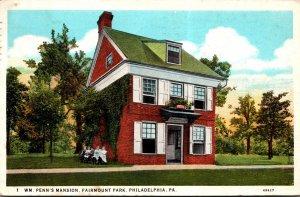 Pennsylvania Philadelphia Fairmount Park William Penn's Mansion 1931 Cur...
