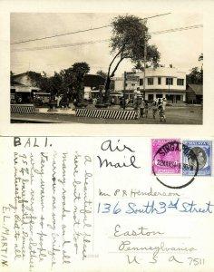 indonesia, BALI DENPASAR, Street Scene with Signpost (1954) RPPC Postcard