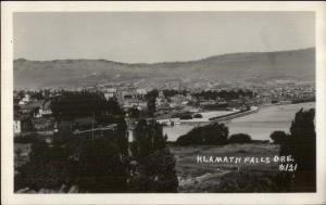 Klamath Falls OR Birdseye View Real Photo Postcard
