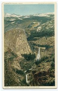 High Sierras Mountains Yosemite Valley California 1910c Phostint postcard