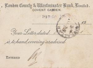 London Westminster Bank Covent Garden 1911 Receipt Postcard