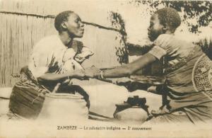 Zambia Zambezi native greeting early postcard