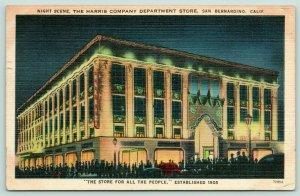 San Bernardino CA~Harris Company Department Store~Night Lights~1951 Linen PC