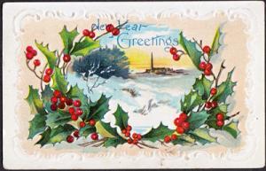 HAPPY NEW YEAR GREETINGS - Holly berries & snow scene 1907