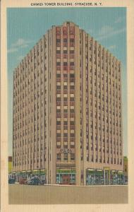 Chimes Tower Building, Syracuse, New York, early linen postcard, unused