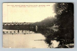 Escanaba MI-Michigan, SOO Line Rail Bridge, River Refection, Vintage Postcard