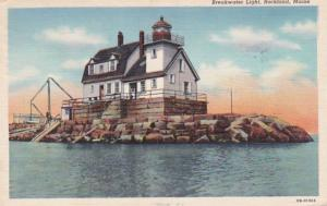 Maine Rockland Breakwater Lighthouse 1945 Curteich