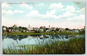 Jefferson Wisconsin~Panoramic View Across River~Skyline Reflects in Water~c1910