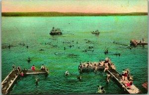 1930s Lake Chautauqua, NY Postcard Bathing Beach Hand-Colored Albertype Unused